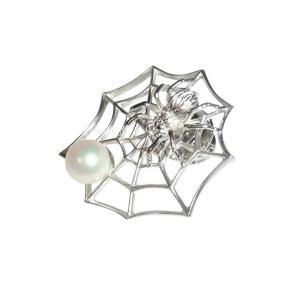 あこや 本真珠 パール SV クモ タック ピン ブローチ  ホワイト 7.0-7.5mm スーツ ネクタイ ワイシャツ ビジネス フォーマル 冠婚葬祭 ohashi-pearl