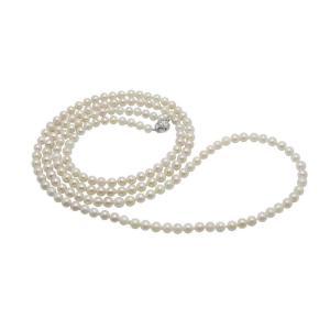 あこや 本真珠 パール ロングネックレス ホワイト 6.5-7.0mm 120cm
