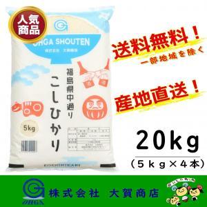 新米 2年産 コシヒカリ 小分け お米 米 白米 安い 美味しい 福島県産 送料無料 福島県中通り産コシヒカリ20kg|ohga-syouten