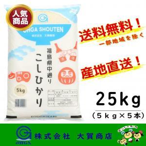 新米 2年産 コシヒカリ 小分け お米 米 精米 安い 美味い 福島県産 送料無料 福島県中通り産コシヒカリ5kgx5本入り|ohga-syouten