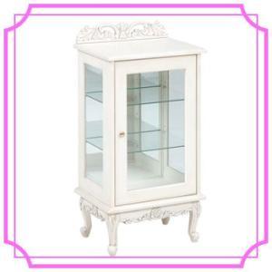 お姫様 姫系家具 ガラスキャビネット ホワイト アンティーク調 RCC-1752AW|ohkawakagu