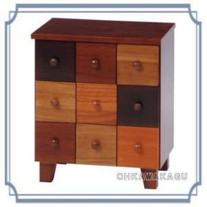 カラフル桐製チェスト 収納家具 安い 木製 引出し3杯 MCH-5540 ohkawakagu