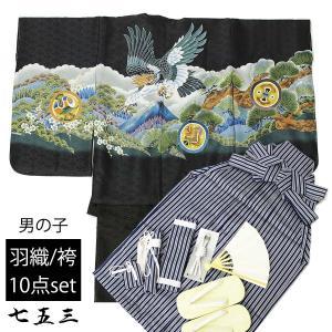 七五三 男の子 5歳 男児 羽織袴 セット お祝い着 10点 トータルセット (羽織:黒×鷹と山/袴:子持ち縞紺)  着物 お祝い着|ohkini