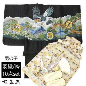 七五三 男の子 5歳 男児 羽織袴 セット お祝い着 10点 トータルセット (羽織:黒×鷹と山/袴:カラフル亀甲)  着物 お祝い着|ohkini
