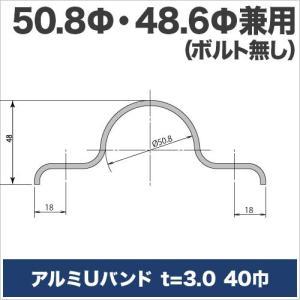 アルミUバンド t=3mm 40巾  50.8Φ・48.6Φ兼用 ボルトなし|ohkuraoafu