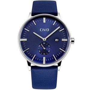 CIVO メンズ腕時計 アナログクォーツ防水腕時計 日付表示カレンダー 日本製クォーツ カジュアルビジネス男性用 3Dメタル目盛り ラグジュアリーファッション|ohmybox
