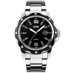 CIVOメンズ腕時計 アナログクォーツ防水腕時計 アナログウォッチ ブラックダイヤル 3D夜光目盛り ビッグフェイスデザイン 日付表示カレンダー カジュアルビ|ohmybox