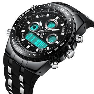 CIVO メンズスポーツ腕時計 アナデジ 多機能ストップウオッチ 3気圧防水 sports watch ミリタリー運動腕時計 LCD液晶画面 digitalサブダイヤル ビッグフェイ|ohmybox