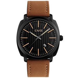 CIVOメンズ腕時計 アナログクォーツ防水腕時計 アナログウォッチ 日付表示 ブラックダイヤル シンプルデザイン 日本製クォーツ カジュアルビジネス男性用 フ|ohmybox
