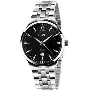 CIVOメンズ腕時計 アナログクォーツ防水腕時計 アナログウォッチ ブラックダイヤル 3D夜光目盛り シンプルデザイン 日付表示カレンダー カジュアルビジネス|ohmybox