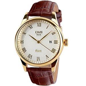 CIVO メンズ腕時計 アナログクォーツ 防水 ローマ数字 日付表示 ゴールドダイヤル|ohmybox