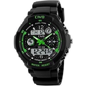 メンズボーイズアナログデジタルスポーツウォッチ防水ビジネスカジュアルファッションミリタリー腕時計 グリーン|ohmybox