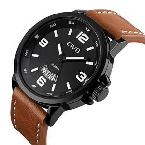 チーヴォメンズBig Faceブラウンレザーバンドラグジュアリードレス腕時計メンズ防水日付カレンダーブラックダイヤル|ohmybox