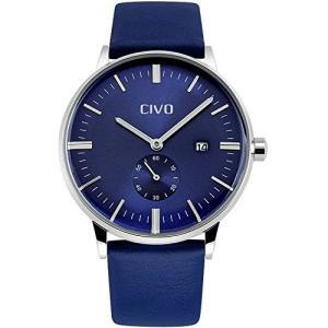 チーヴォメンズシンプルな本革バンド防水腕時計ドレスラグジュアリービジネスカジュアル日付カレンダー 標準 ブルー|ohmybox