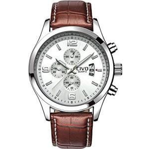 チーヴォメンズホワイト装飾ダイヤルラグジュアリーブラウンレザーバンド防水シンプル腕時計ビジネスカジュアル|ohmybox