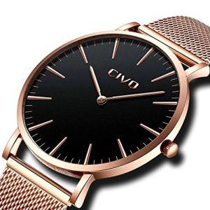 チーヴォユニセックスメンズレディースUltra Thin Watchミニマリスト高級ファッションビジネスドレスカジュアル防水クオーツ腕時計for Man Woman withローズ|ohmybox