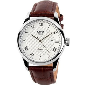 チーヴォメンズ高級ブラウンレザーバンド日付カレンダー腕時計カジュアルビジネス防水ドレス腕時計|ohmybox