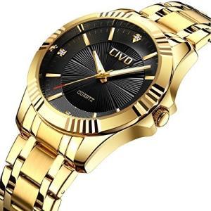 チーヴォMens Golden Watchesラグジュアリービジネス防水腕時計メンズエレガントカジュアルドレスシンプルなデザインアナログクォーツウォッチステンレスス|ohmybox