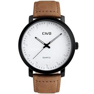 CIVO(チーヴォ)メンズブラウンレザーバンド防水腕時計 ホワイト文字盤|ohmybox