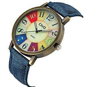 チーヴォメンズレディースデニムレザー時計バンドブロンズケース手首腕時計ビジネスカジュアルレトロビンテージスタイル|ohmybox