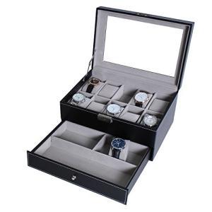 10本腕時計 多収納コレクションケース 男性用腕時計 保護 透明ガラス蓋 アクセサリー展示 表面革製 ブラック調 黒|ohmybox