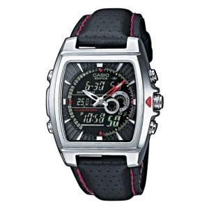 腕時計 カシオ Casio Stainless Steel Edifice Square Black Dial Chronograph Strap Red Accents【並行輸入品】|ohmybox