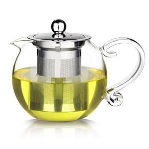 E-PRANCE ティーポット 耐熱ガラス 宮廷風 ハンド式 丸い形 紅茶 緑茶 急須 茶こし付き 電子レンジにも対応  (800ml)|ohmybox