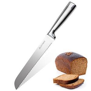 AUGYMER パン切り包丁 パン切りナイフ ステンレス鋼 刃渡り 200mm パンナイフ 一体型 ブレッド包丁 波型の刃 切れ味抜群 家庭用 業務用 ブレッドナイフ パン|ohmybox