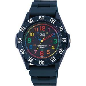 [シチズン キューアンドキュー]CITIZEN Q&Q 腕時計 ダイバー 10気圧防水 ウレタン マルチカラー ネイビー VR80-001 メンズ|ohmybox