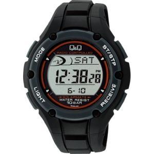 [シチズン キューアンドキュー]CITIZEN Q&Q 腕時計  電波ソーラー デジタル表示 クロノグラフ 10気圧防水 ブラック MHS6-300|ohmybox