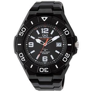[シチズン キューアンドキュー]CITIZEN Q&Q 電波ソーラー腕時計 スポーツ アナログ表示 10気圧防水 ブラック HG14-305 メンズ|ohmybox