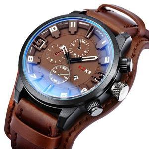 腕時計 Zeiger メンズ レザー ファッション アナログ 大文字盤 日付表示 スポーツ (ブラウン)|ohmybox