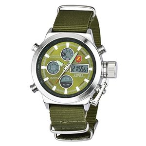 Zeiger メンズ腕時計 アナデジLED 多機能 アラーム クロノ 日本製クォーツ スポーツ 時計 ミリタリー アーミーグリーン W220|ohmybox