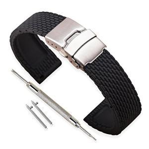時計 ベルト 交換ベルト ラバー腕時計ストラップ 防水 18mm  黒 シリコーンゴム ステンレスバックル (その他のサイズはお問合せください)|ohmybox