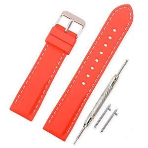 時計 ベルト 腕時計  ラバー 腕時計ストラップ 防水 柔らか スポーツ  20mm シリコーンゴム  赤 (その他サイズはお問合せください)|ohmybox