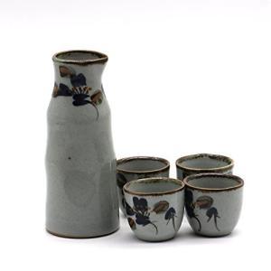 HOMEIDOL 日本酒 徳利 & おちょこ 4個 セット ぐい呑み 冷酒器 4客 酒器セット 中国陶器 (墨面) ohmybox