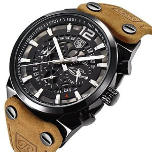 BY 男性用 ミリタリークロノグラフクォーツ腕時計|ohmybox