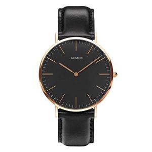腕時計 メンズ 超薄型 本革製のブレスレット 日本製クォーツムーブメント 40mm黒色文字盤 30m生活防水 人気 ビジネス 男女兼用|ohmybox