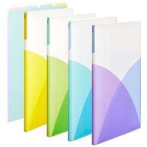 オシャレカラフル プラス クリアファイル A4縦 20ポケット Pasty フルーツスカッシュ 4色+インデックス1組|ohmybox
