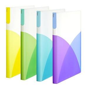 まとめ買い オシャレカラフル  プラス クリアファイル A4 縦 40ポケット Pasty パスティ フルーツスカッシュ 4色組|ohmybox