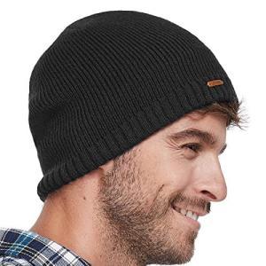 LETHMIK ニット帽 無地 メンズ ワッチキャップ ニットキャップ 普段使いに スノボ スキー 通学 バイク 登山 アウトドア ブラック ohmybox