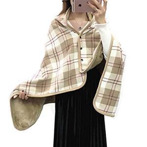 Ebuty ひざ掛け ブランケット 着る毛布 チェック柄 冷房 防寒対策 家 オフィス アウトドア用 紐付き 洗濯可能 (ブラウン)|ohmybox