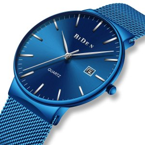 腕時計 メンズ時計ブルー ステンレススチール防水 アナログクオーツメッシュ腕時計 シンプルデザイン 日付カレンダー ビジネス カジュアル ラグジュ|ohmybox
