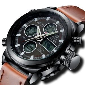 腕時計 メンズスポーツ時計レザー デジタルアナログクオーツ防水 ブラック 曜日付け 日付カレンダー アラームク ロノグラフ多機能腕時計 LEDライト|ohmybox