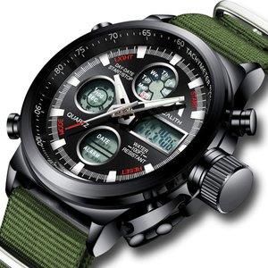 腕時計 メンズスポーツ時計 デジタルアナログクオーツ防水 ブラック 曜日付け 日付カレンダー アラームク ロノグラフ多機能腕時計ナイロン LEDライト|ohmybox