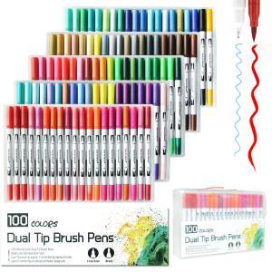 Litchi 水性ペン 蛍光ペン カラーペン 水彩ペン マーカーペン サインペン 塗り絵 学習用(100色) ohmybox