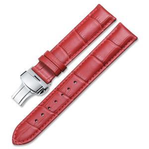 [イストラップ]iStrap  本革時計バンド 腕時計ベルト プッシュDバックル 鰐皮紋様 観音開き尾錠金具 20mm, レッド|ohmybox