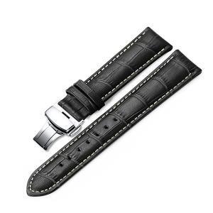 [イストラップ]iStrap 20mm ブラック 黒 本革時計バンド 腕時計ベルト プッシュDバックル 鰐皮紋様 観音開き尾錠金具|ohmybox