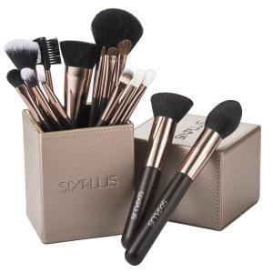 SIXPLUS 限定版 魅力のコーヒー色 メイクブラシ 15本セット(コーヒー色)美容筆