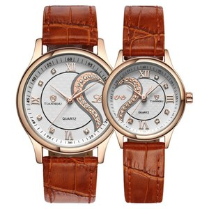 ロマンチック カップル メンズ レディース ウォッチ、人気 本革 ベルトハート型 デザイン ペア 腕時計 ゴールデン D-102|ohmybox